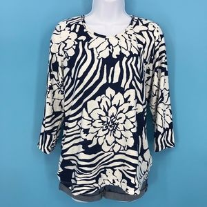 Navy Blue and White Floral Stretch Top